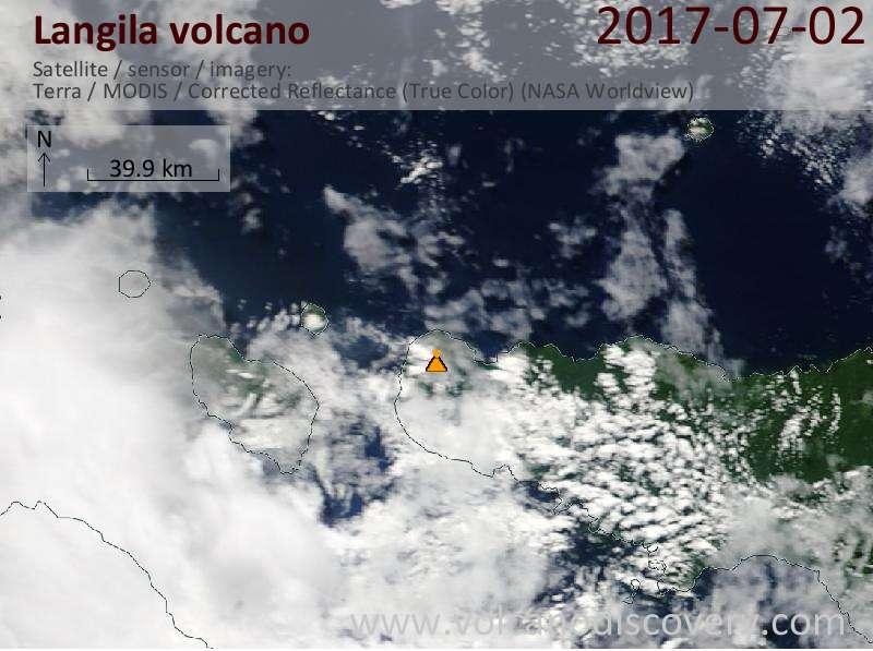 Satellite image of Langila volcano on  2 Jul 2017