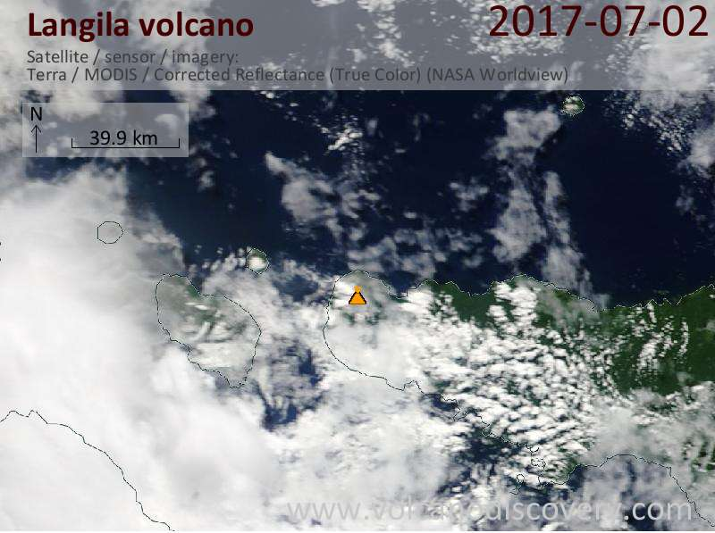 Satellite image of Langila volcano on  2 Jul 2017