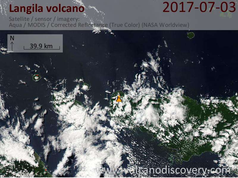 Satellite image of Langila volcano on  3 Jul 2017