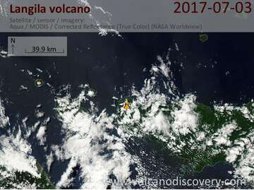 Satellite image of Langila volcano on  3 Jul 2017