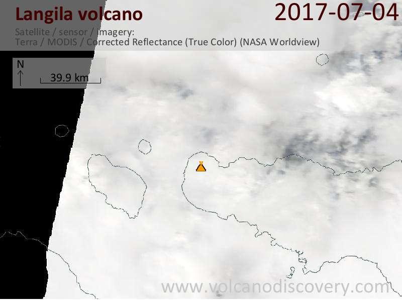 Satellite image of Langila volcano on  4 Jul 2017