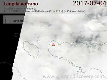 Satellite image of Langila volcano on  4 Jul 2017