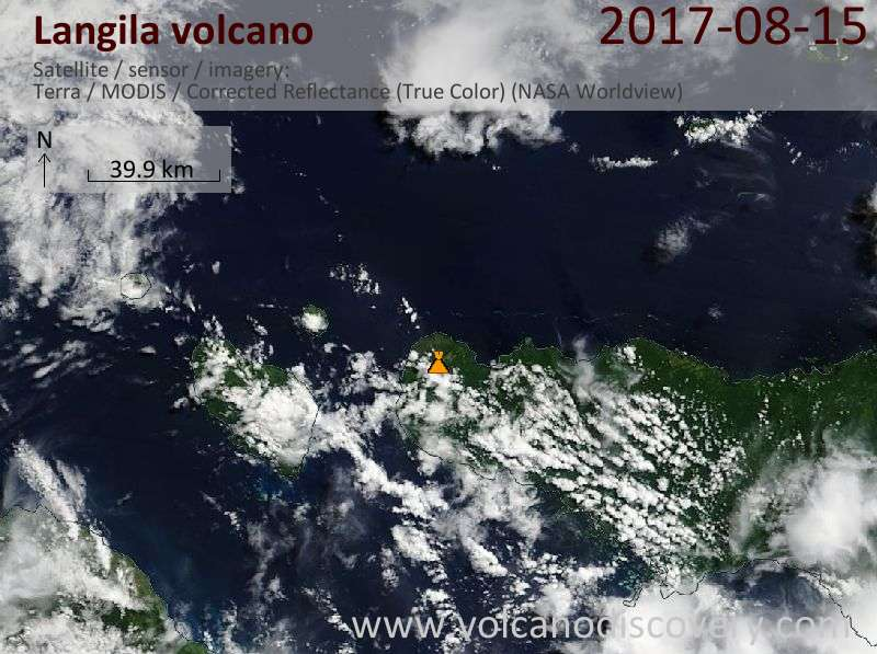 Satellite image of Langila volcano on 15 Aug 2017