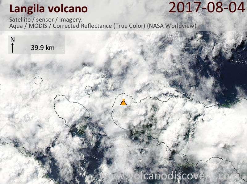 Satellite image of Langila volcano on  6 Aug 2017