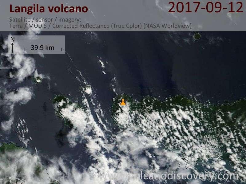 Satellite image of Langila volcano on 12 Sep 2017