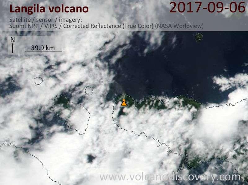 Satellite image of Langila volcano on  6 Sep 2017