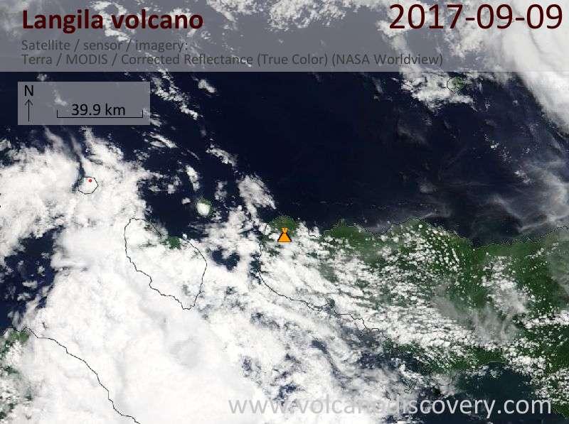 Satellite image of Langila volcano on  9 Sep 2017