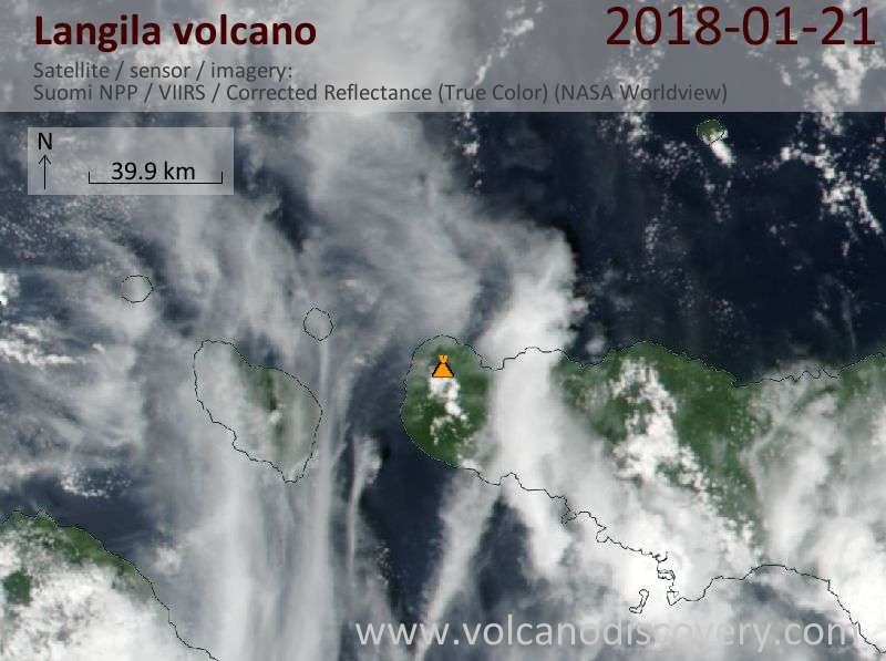 Satellite image of Langila volcano on 21 Jan 2018