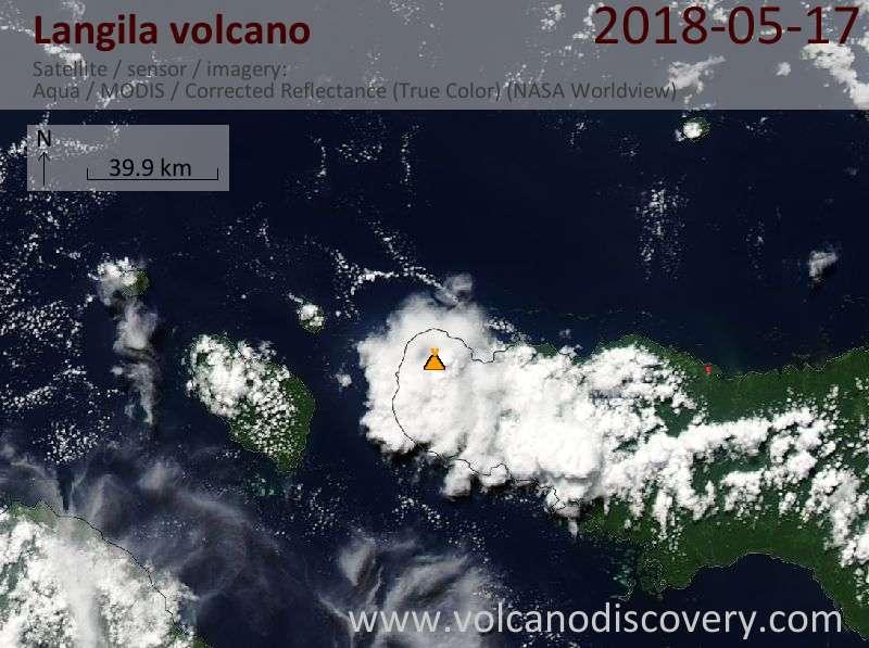 Satellite image of Langila volcano on 17 May 2018