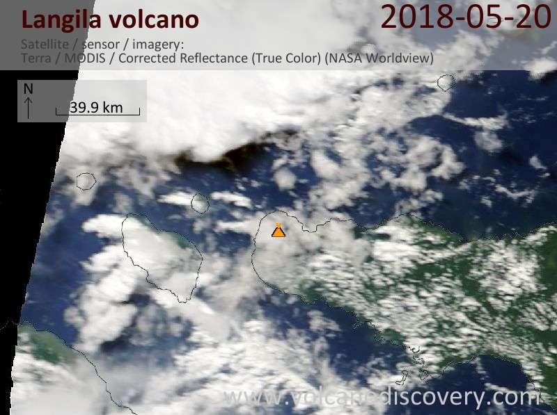 Satellite image of Langila volcano on 20 May 2018