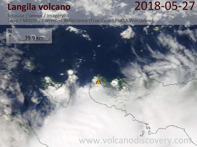 Satellite image of Langila volcano on 27 May 2018