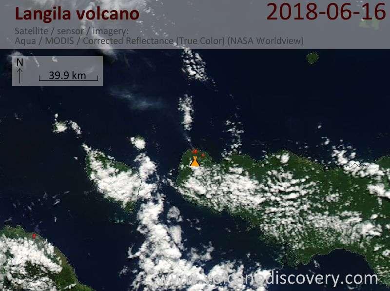 Satellite image of Langila volcano on 16 Jun 2018