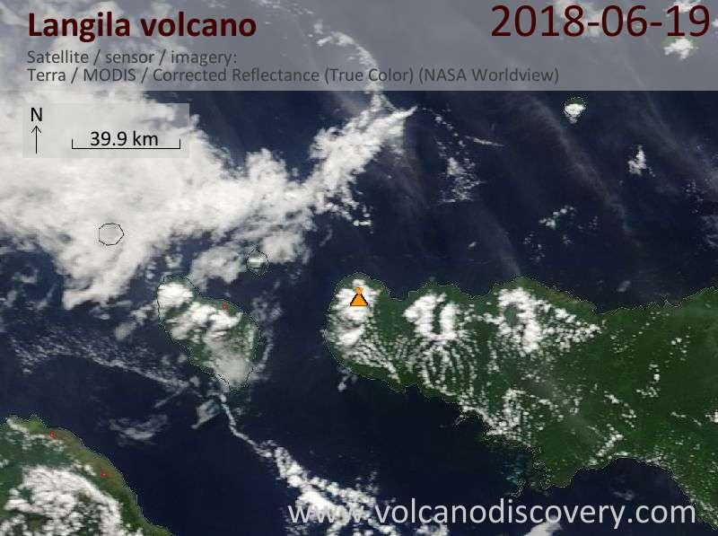 Satellite image of Langila volcano on 19 Jun 2018