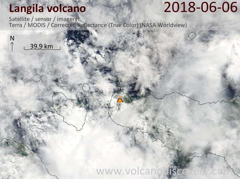 Satellite image of Langila volcano on  6 Jun 2018