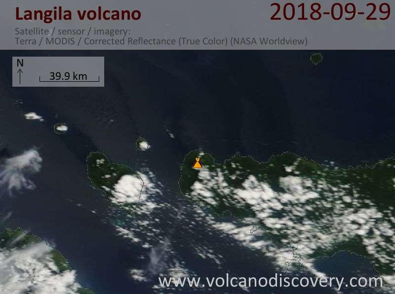 Satellite image of Langila volcano on 29 Sep 2018