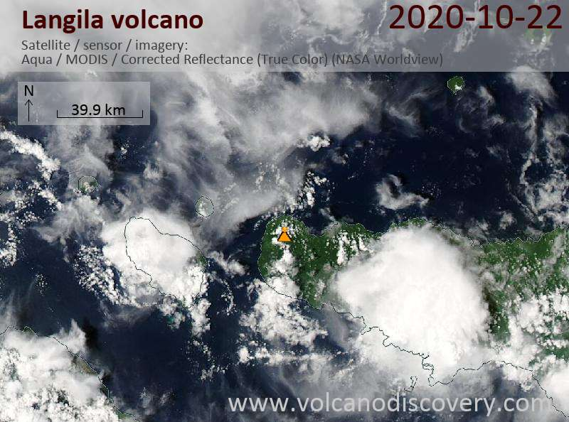 Satellite image of Langila volcano on 22 Oct 2020