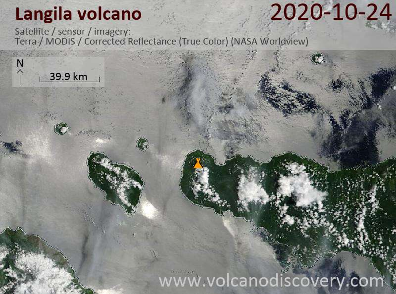 Satellite image of Langila volcano on 24 Oct 2020