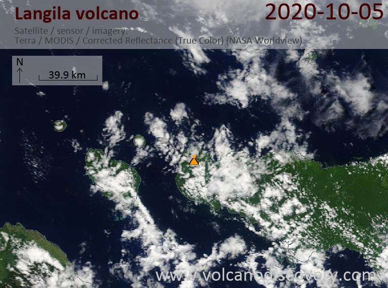 Satellite image of Langila volcano on  5 Oct 2020
