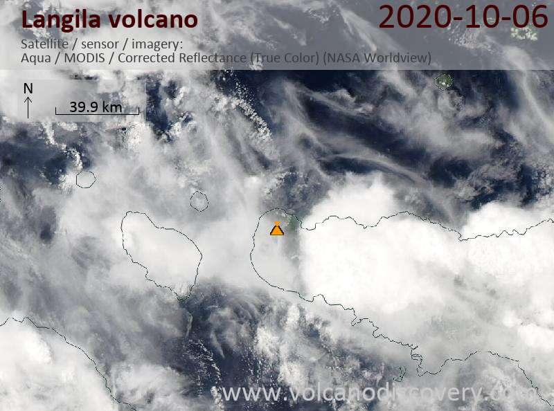 Satellite image of Langila volcano on  6 Oct 2020
