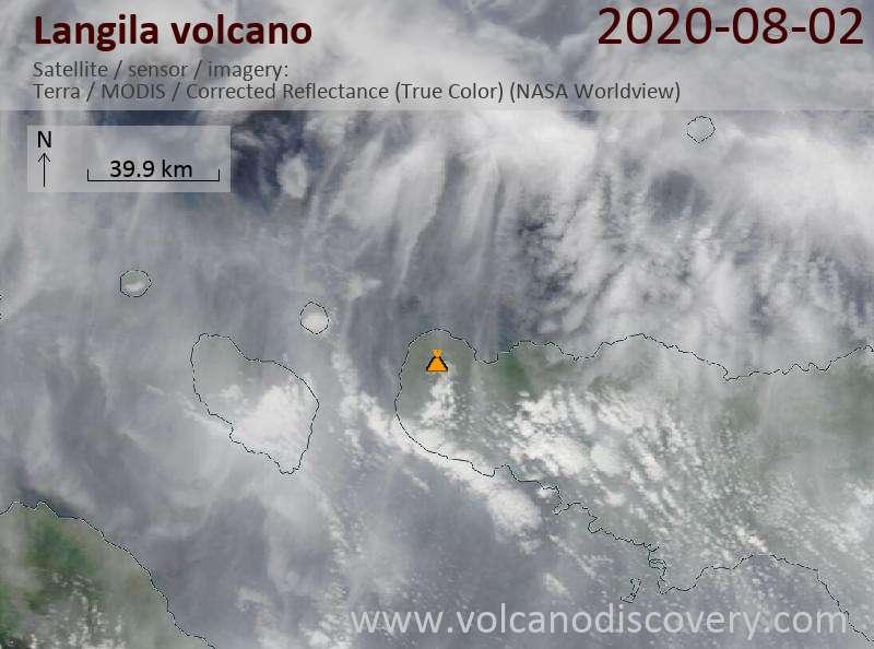 Satellite image of Langila volcano on  2 Aug 2020