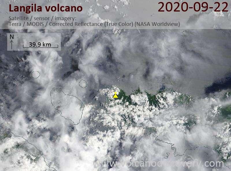 Satellite image of Langila volcano on 22 Sep 2020