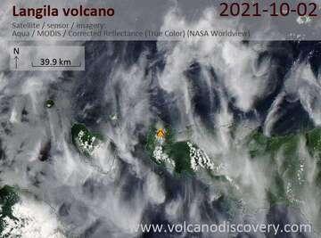 Satellite image of Langila volcano on  2 Oct 2021