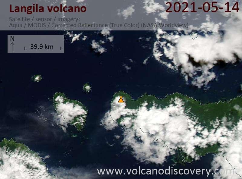 Satellite image of Langila volcano on 14 May 2021