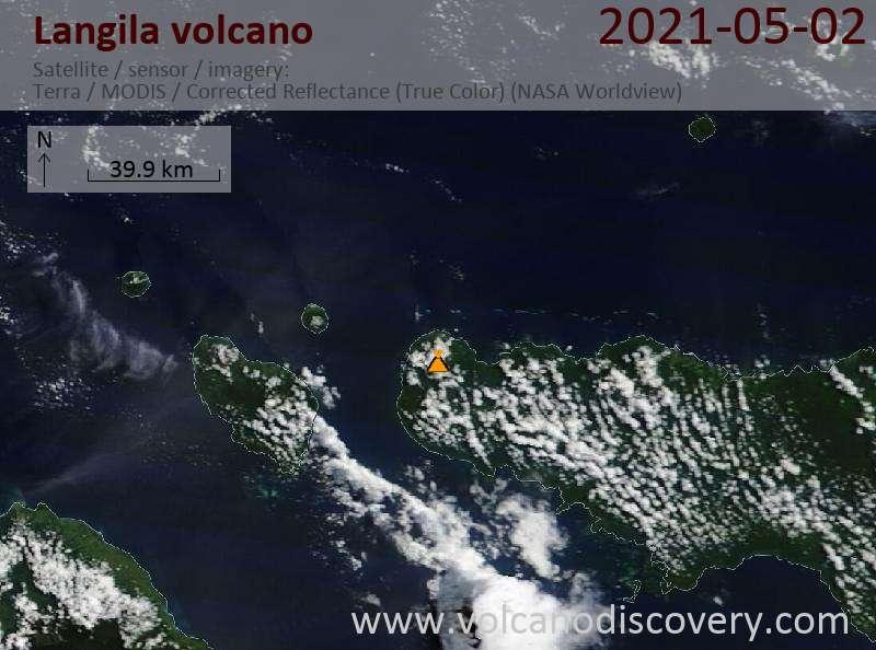 Satellite image of Langila volcano on  3 May 2021