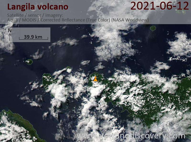 Satellite image of Langila volcano on 13 Jun 2021