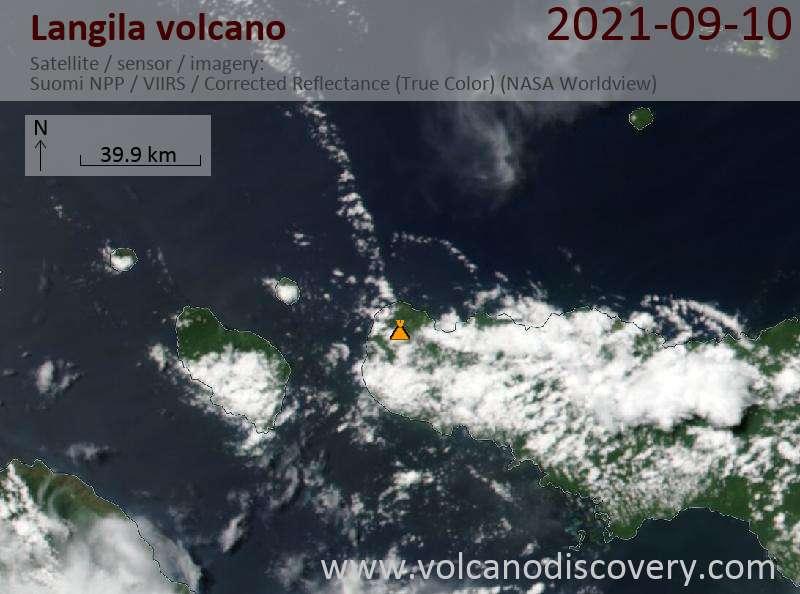 Satellite image of Langila volcano on 10 Sep 2021