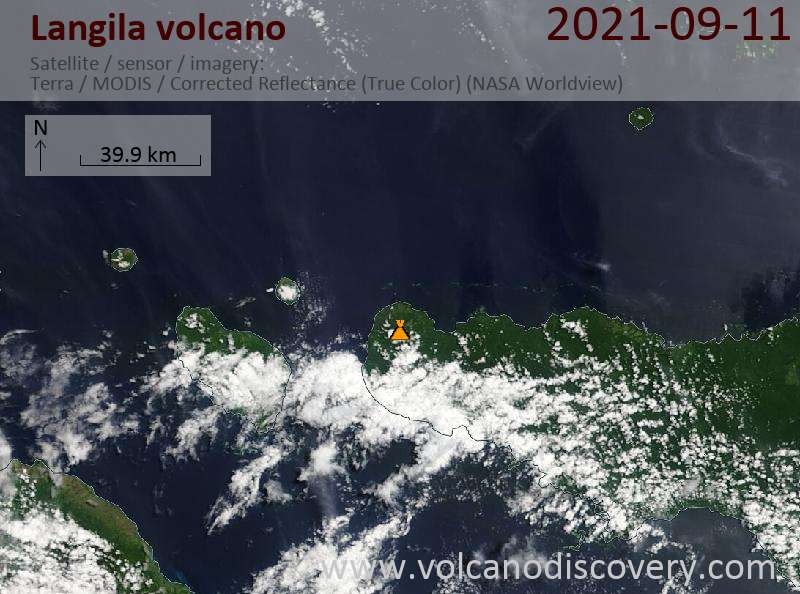 Satellite image of Langila volcano on 11 Sep 2021