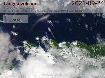 Satellite image of Langila volcano on 25 Sep 2021