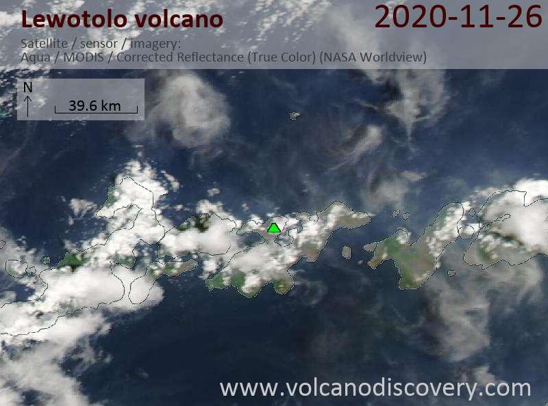 Satellite image of Lewotolo volcano on 26 Nov 2020