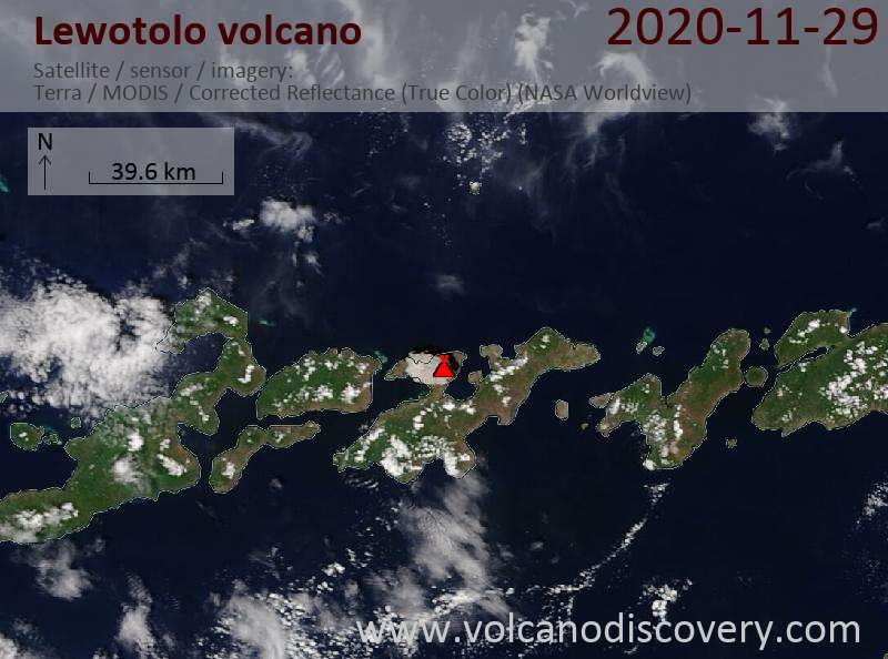 Satellite image of Lewotolo volcano on 30 Nov 2020