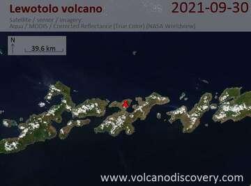 Satellite image of Lewotolo volcano on  1 Oct 2021