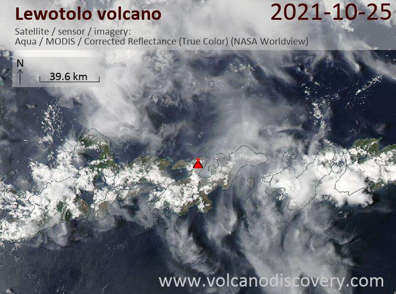 Satellite image of Lewotolo volcano on 25 Oct 2021