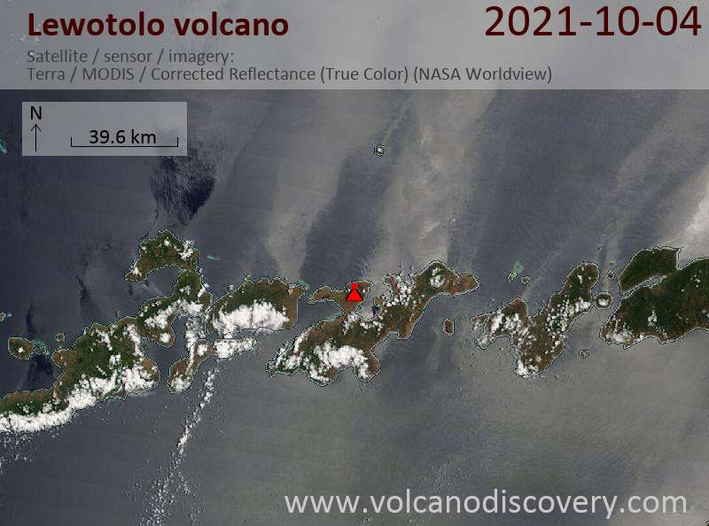 Satellite image of Lewotolo volcano on  5 Oct 2021