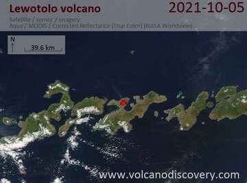 Satellite image of Lewotolo volcano on  6 Oct 2021