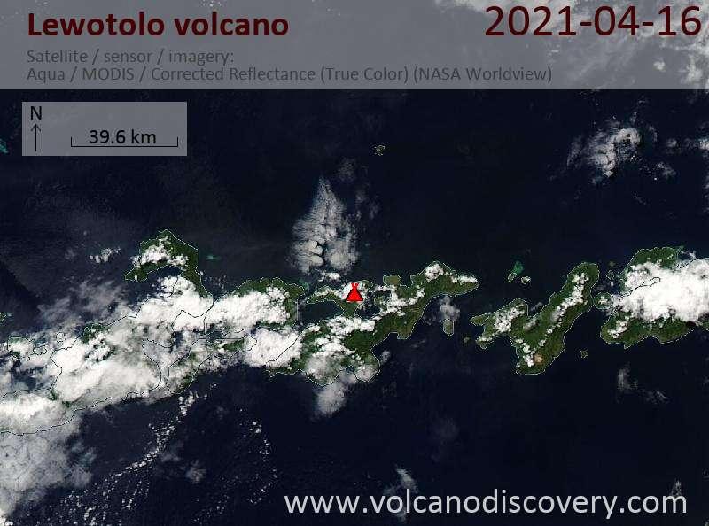 Satellite image of Lewotolo volcano on 16 Apr 2021