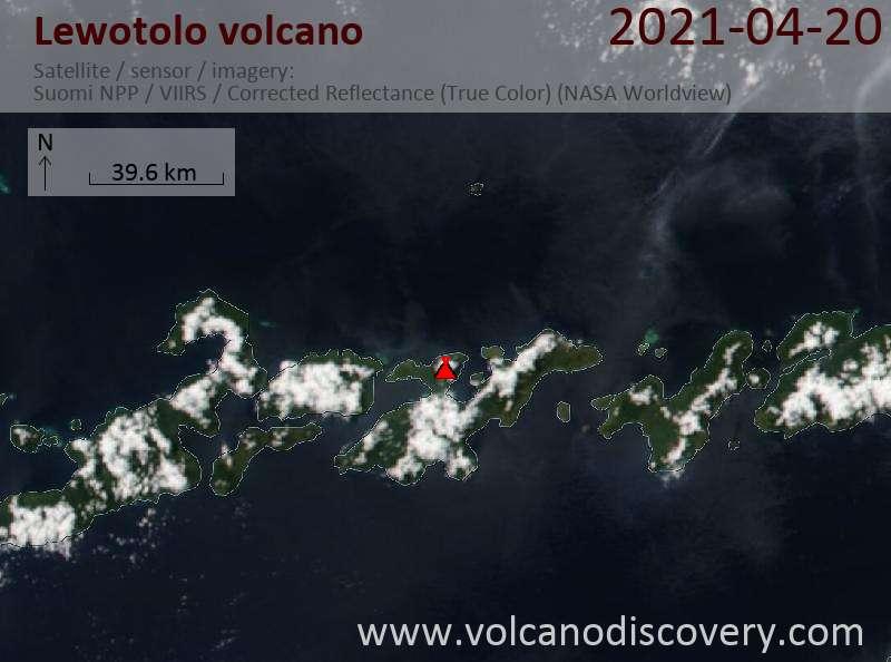 Satellite image of Lewotolo volcano on 20 Apr 2021