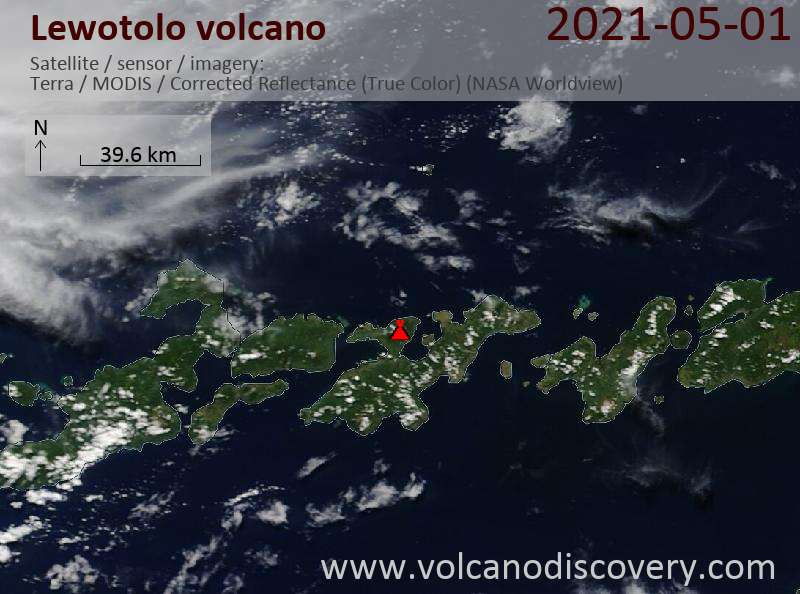 Satellite image of Lewotolo volcano on  2 May 2021