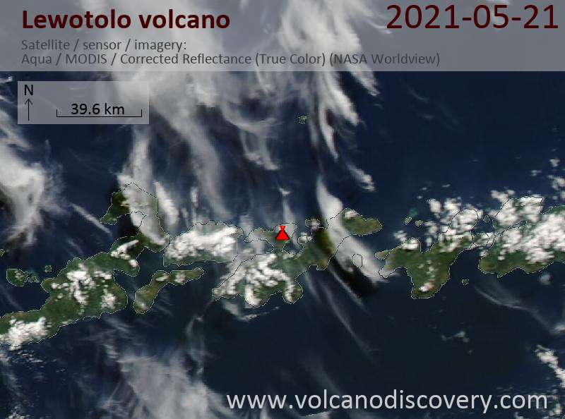 Satellite image of Lewotolo volcano on 21 May 2021