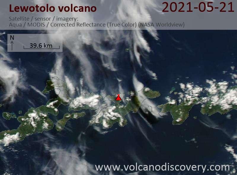 Satellite image of Lewotolo volcano on 22 May 2021
