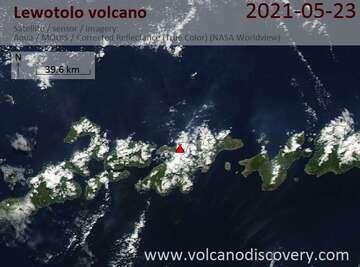 Satellite image of Lewotolo volcano on 23 May 2021