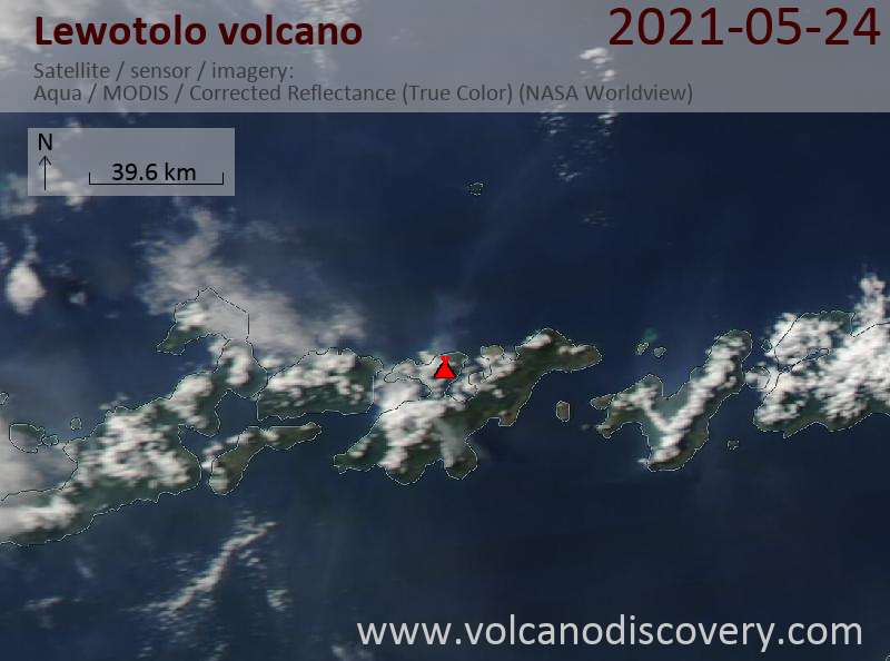 Satellite image of Lewotolo volcano on 24 May 2021