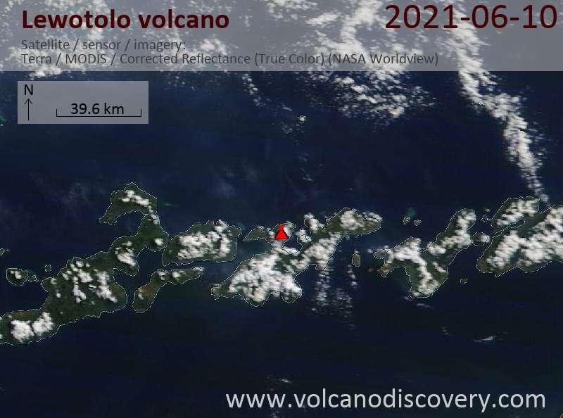 Satellite image of Lewotolo volcano on 10 Jun 2021