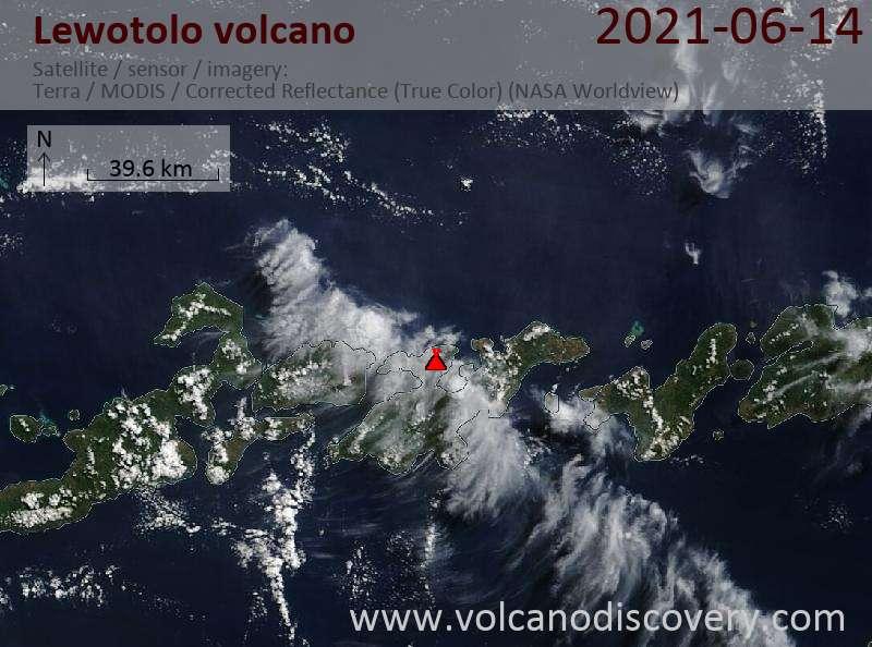 Satellite image of Lewotolo volcano on 15 Jun 2021