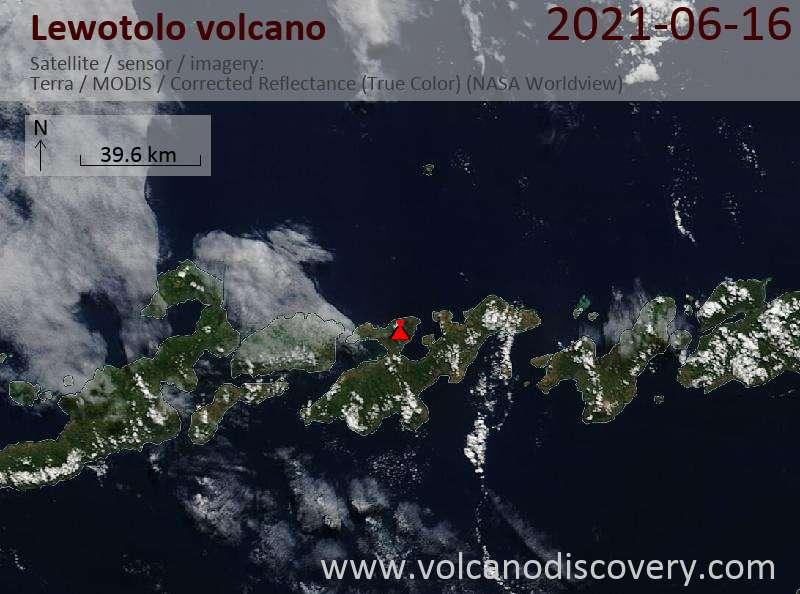 Satellite image of Lewotolo volcano on 16 Jun 2021