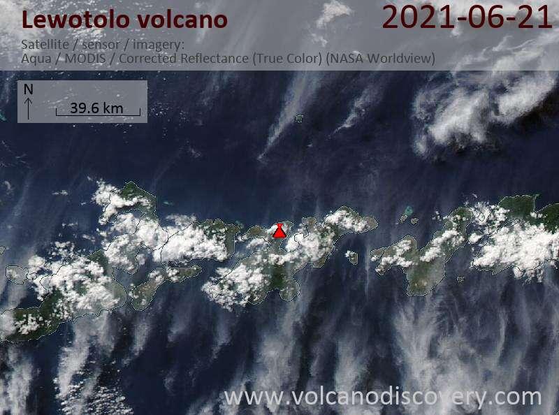 Satellite image of Lewotolo volcano on 21 Jun 2021