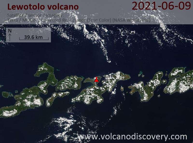 Satellite image of Lewotolo volcano on  9 Jun 2021